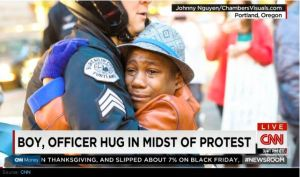 hugging officer
